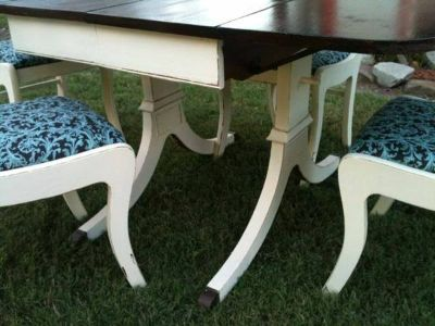 Refurbished antique dining table