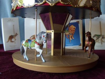 Hallmark Carousel with 2 horses, tiger, lion, polar bear, kangaroo