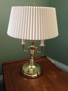 Set of 2 Gold Metal Lamps, One Table & One Floor