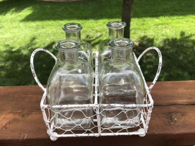 Rustic Farmhouse Chicken Wire & Metal Distressed Tray & 4-Glass Vase Bottles