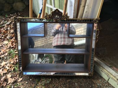 Wood and mirror shadow box cabinet wall unit