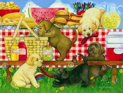 Picnic Puppies 500 piece SunsOut Jigsaw Puzzle Brand New in Box