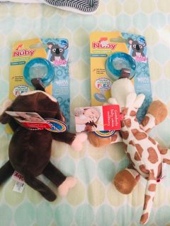 NEW Nuby pacifier with plush toy