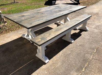 Custom built rustic farmhouse table w/ one bench $450