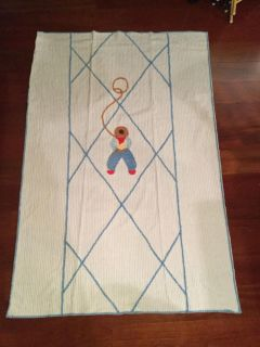 Vintage baby/toddler chenille bedspread, Cowboy with lariat