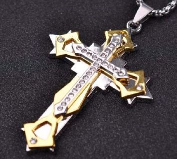 A Beautiful Stainless Steel Cross Necklace for Men