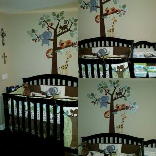 Baby Crib with Attached Changing Table, Mattress and Bedding