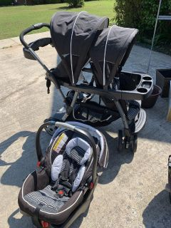 Graco Car Seat and Double Stroller