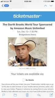 Garth tickets for tonight. Section 301. Row S. Seat 11 and 12