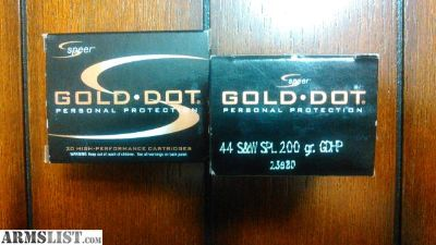 For Sale/Trade: 40 rounds of Speer Gold Dot .44 special 200 grain GDHP (23980)