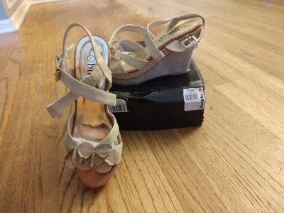 Beige size 7 ankle strap wedge sandal