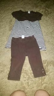 Baby Gap 2 pc Brown and White Outfit Top Size 3/ Capri Pants Size 2...both fit the same