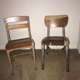Vintage parochial school chairs (small) from Sts. Peter & Paul School. Price for pair.