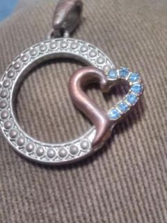 Alloy Sapphire heart shaped charm for necklace or bracelet.