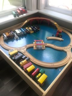 Train table with Thomas and various trains
