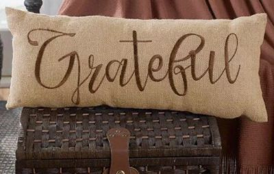 Burlap Bench Pillow, New. Grateful Holiday Fall Winter