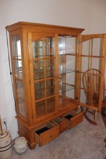 Solid Wood DR Table with 4 chairs AND Matching lighted HUTCH