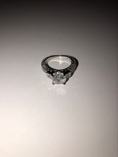 Brand new womens white diamonique wedding ring. Size 6