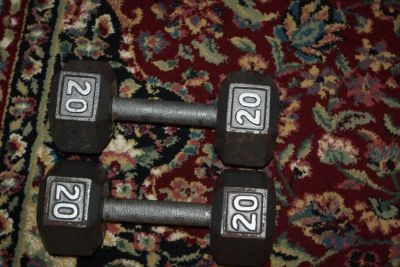 Two 20 LB Steel Dumbbells barbell Weights