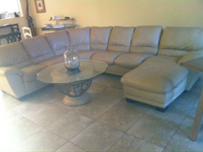 Cream Leather Sectional wchaise