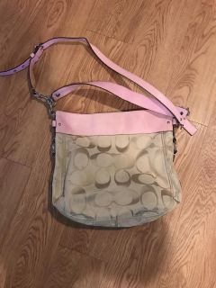 Coach purse pink and brown