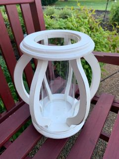 NEW GORGEOUS WHITE WOOD LANTERN with GLASS INSERT in CENTER14tall x 32 ish round