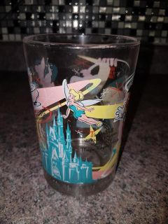 COLLECTABLE LARGE DISNEY GLASS - TINKERBELL DUMBO BAMBI AND PINOCCHIO
