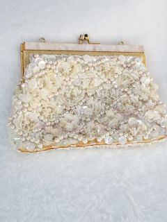 Vintage Small Ivory Evening Purse with Sequins and Beads