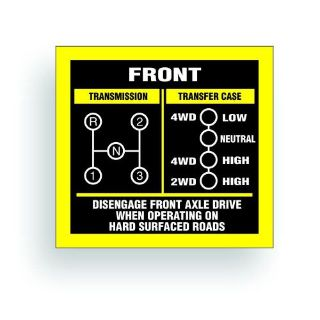 Purchase TRANSMISSION SHIFT PATTERN decal fits willys cj jeep 3 speed FC150 FC170 AR012 motorcycle in Mentor, Ohio, United States, for US $9.98