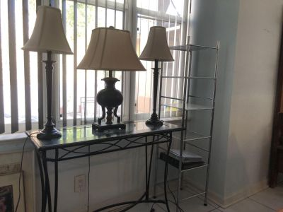 Glass and Iron Table - Matching Vintage Like Lamps - Free Extra Lamp & 6 Tier Plastic Shelf
