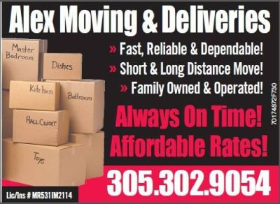ALEX MUDANZA & DELIVERES INC . 305-302-9054