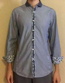 INC International Concepts Floral & Striped Long Sleeve Slim Fit Shirt