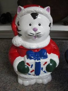 Vintage Christmas Kitty Cat Cookie Jar