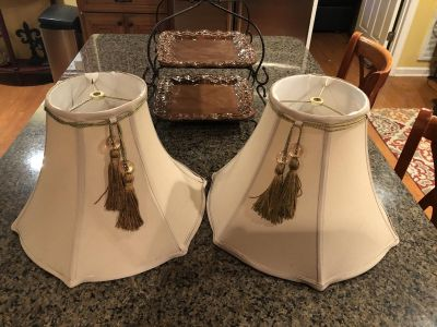 Taupe lamp shades with tassels. See pics for measurements.