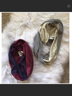 NWT! Bundle of 2 Scarves. Red/Navy is NWT. Cream/Navy worn once!