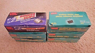 "6 BOXES) 12 UIC & Staples Medium Binder Clips 1-1/4""x5/8"" OFFICE SUPPLIES LOT"