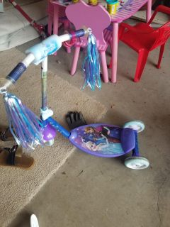 """Frozen scooter frozen 16"""" bike and barbie tricycle"""