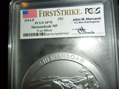 2014-P F/S PCGS SP 70 SHENANDOAH NATIONAL PARK 5 oz. SILVER QUARTER with JOHN M