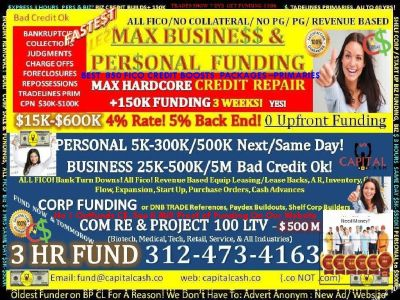 Business Loans 250K to 5,000,000, Personal to 250K to 350K, Commercial 100Ltv, Primary TRADELINES !