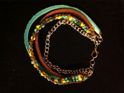 $10, Handmade Native American Western Style Four-Strand Leather Beaded Chain Bracelets