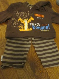 Disney Brand 3-6 Months Tigger Likes to Bounce Hoodie Shirt with Striped Pants EUC