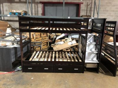 Twin over twin with trundle bunk bed assembled
