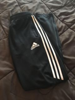Black Adidas Athletic pants with white stripe size Youth XL
