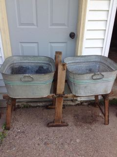 Vintage galvanized washtubs with wood stand