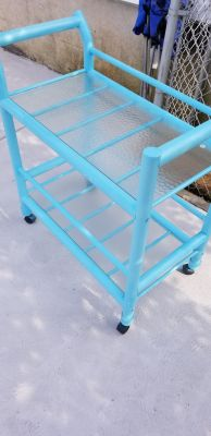 Patio bar cart with glass shelves and wheels