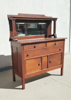 Antique Helmers Manfucturing Co. Oak Sideboard Buffet with Original Mirror
