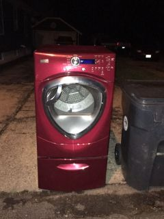 Free GE Profile gas dryer at curb with pedestal base