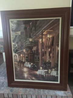 Beautiful Large wood framed oil painting