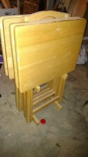 Set of 4 wood TV trays with storage stand