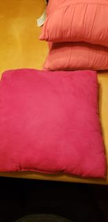 1 pink suede pillow